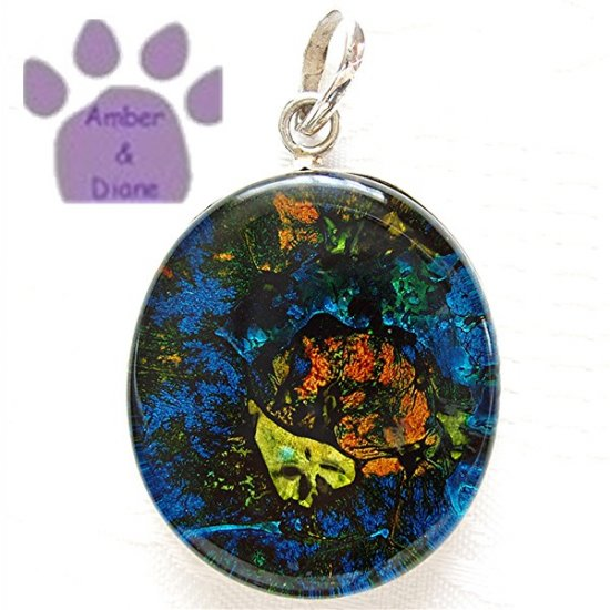 Dichroic Glass Sterling Silver Pendant oval blue, orange, yellow