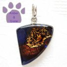 Dichroic Glass Sterling Silver Pendant purple, copper, gold