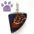 Dichroic Glass Sterling Silver Pendant purple, copper, gold