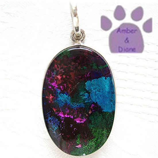 Dichroic Glass Sterling Silver Pendant turquoise, magenta, green