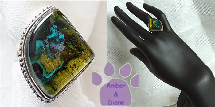 Dichroic Glass Sterling Silver Ring yellow, blue fan size 9.5