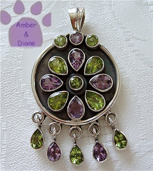 Amethyst and Peridot Flower Sterling Silver Pendant with gemstone drops