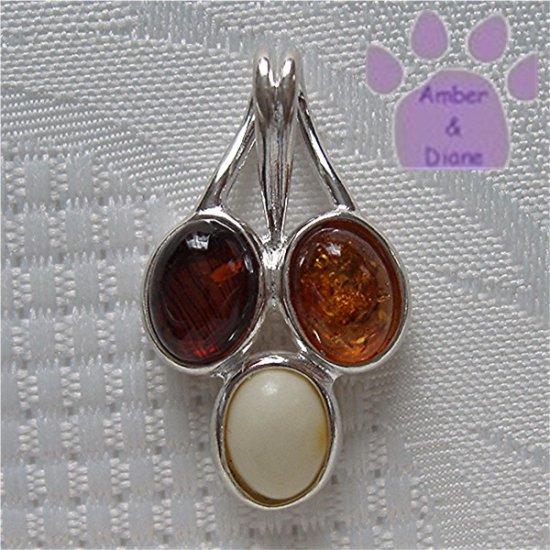 Baltic Amber Sterling Silver Pendant cognac honey butterscotch droplets