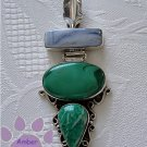 Blue Agate, Malachite and Amazonite Sterling Silver Pendant