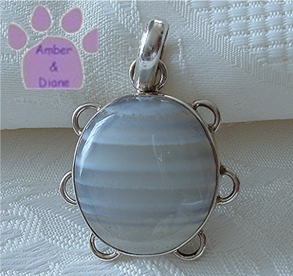 Blue Lace Agate Sterling Silver Pendant oval striped