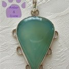 Chalcedony Sterling Silver Pendant teardrop light blue