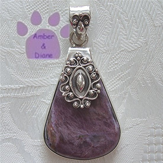 Charoite Sterling Silver Fancy Pendant Purple Teardrop