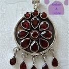 Garnets Flower Sterling Silver Pendant with garnet drops