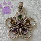 Gemstone Flower Sterling Silver Pendant garnet citrine amethyst peridot
