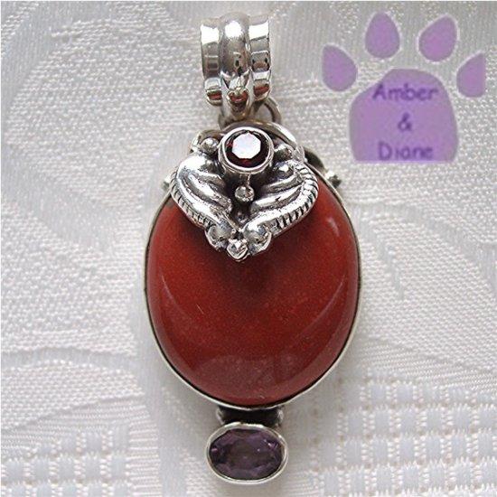 Jasper Oval Sterling Silver Pendant red jasper - garnet - amethyst