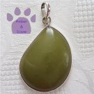 Jasper Sterling Silver Pendant Olive Green Pear-Shape