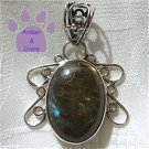 Laboradorite Oval Sterling Silver Pendant in a silver filigree frame