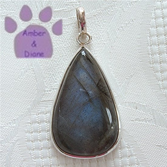 Laboradorite Sterling Silver Pendant Teardrop in a simple silver frame