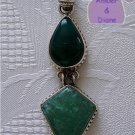 Malachite and Green Quartz Sterling Silver Pendant