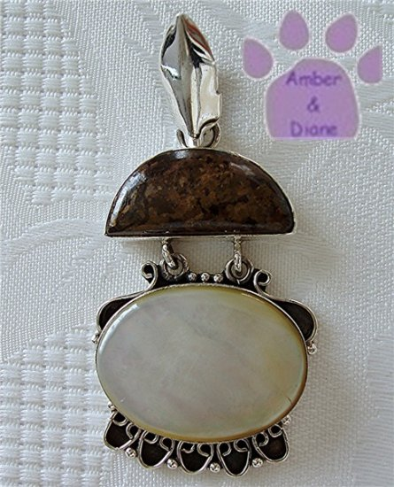 Mother of Pearl and Petrified Wood Sterling Silver Pendant