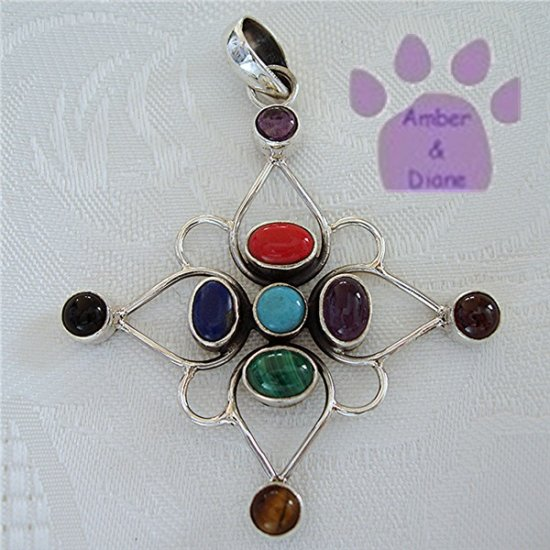 Multiple Gemstones Sterling Silver Pendant Coral to Turquoise North Star