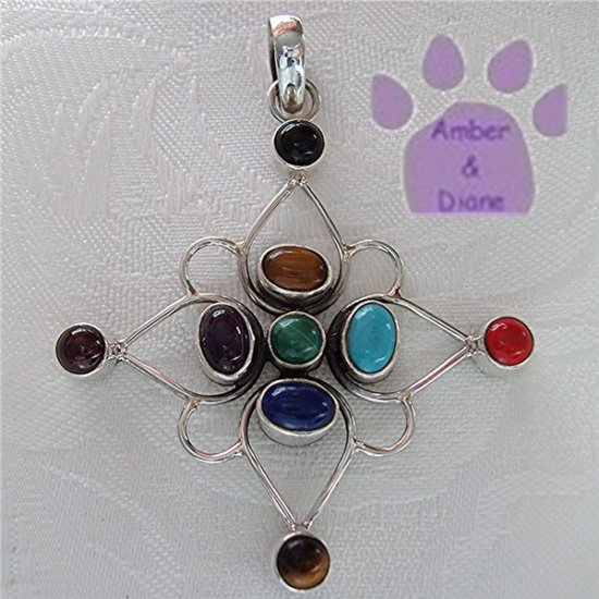 Multiple Gemstones Sterling Silver Pendant Onyx to Amethyst North Star