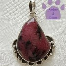 Rhodonite Sterling Silver Pendant teardrop deep coral pink and black