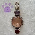 Rose Quartz Round Sterling Silver Pendant with Amethyst and Garnet