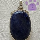 Sodalite Sterling Silver Pendant oval midnight blue mottled