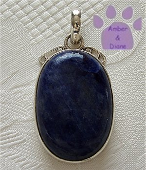 Sodalite Sterling Silver Pendant oval midnight blue mottled