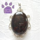 Tiger Iron Jasper Oval Sterling Silver Pendant metallic blue-black, copper
