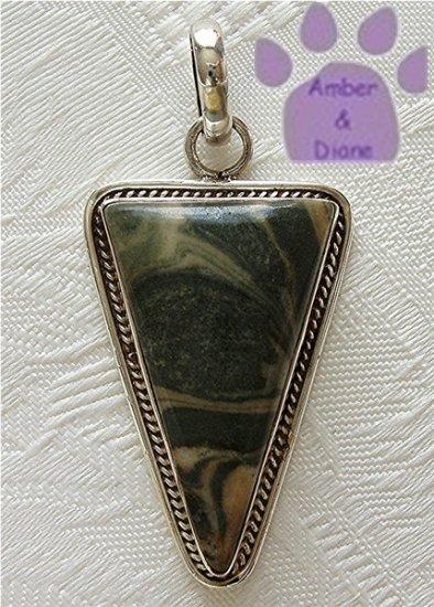 Zebra Jasper Sterling Silver Pendant triangle cream and green