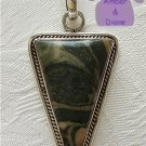 Zebra Jasper Sterling Silver Pendant triangle cream and green