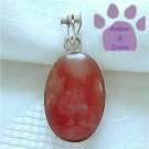 Cherry Quartz Sterling Silver Pendant swirling pink oval
