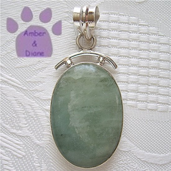 Aquamarine Oval Sterling Silver Pendant light seafoam green