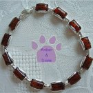 Baltic Amber Sterling Silver Bracelet Cognac rectangular links