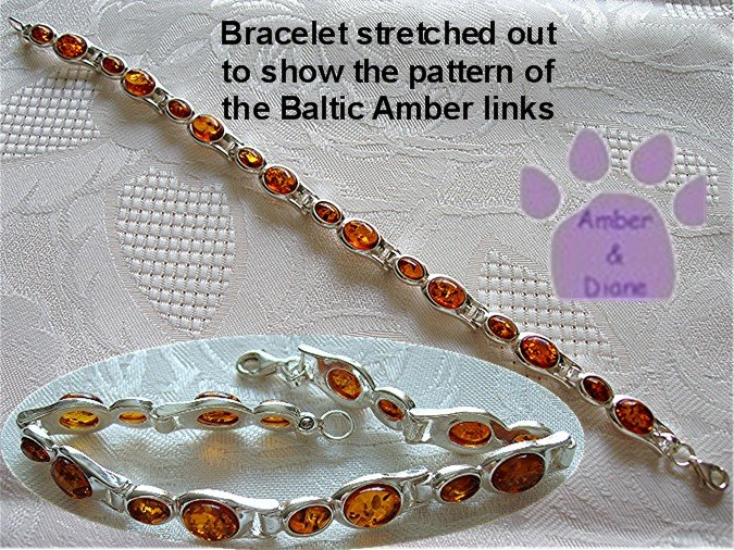 Baltic Amber Sterling Silver Bracelet Honey double oval links TR1299