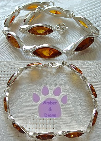 Baltic Amber Sterling Silver Bracelet Honey marquise links