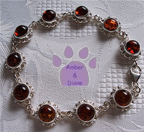Baltic Amber Sterling Silver Bracelet Honey round flower links