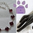 Bordeaux Tourmaline Sterling Silver Bracelet red square links