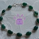 Green Onyx Sterling Silver Bracelet oval links 7.5 inches TR1313