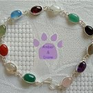 Multi-Gemstone Sterling Silver Bracelet oval links 7.5 inches  TR1307