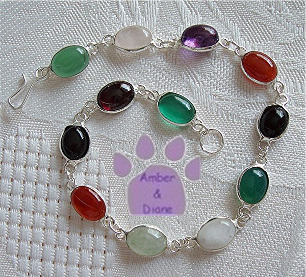 Multi-Gemstone Sterling Silver Bracelet oval links 7.5 inches TR1306