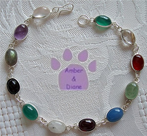 Multi-Gemstone Sterling Silver Bracelet oval links 7.5 inches TR1305
