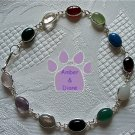 Multi-Gemstone Sterling Silver Bracelet oval links 7.5 inches TR1312