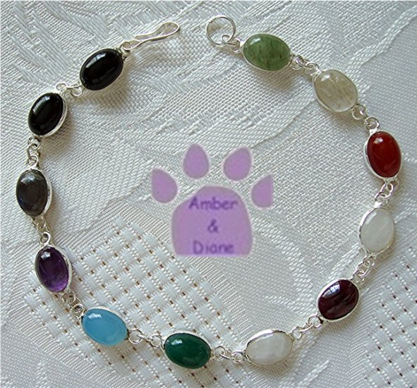 Multi-Gemstone Sterling Silver Bracelet oval links 7.5 inches TR1309