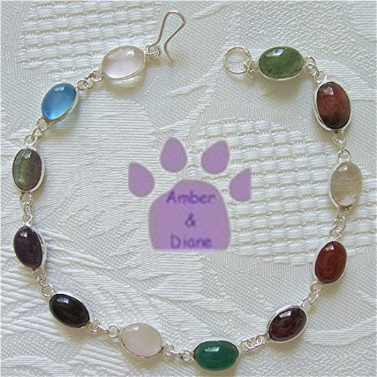 Multi-Gemstone Sterling Silver Bracelet oval links 7.5 inches TR1308