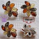 Baltic Amber Sterling Silver Clip-on Earrings Lemon Green Honey 1293