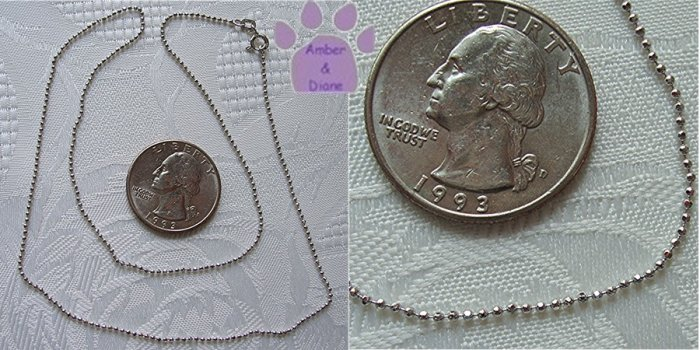 Sterling Silver Diamond Cut 1mm Bead Chain Necklace 18 inches