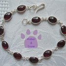 Bordeaux Tourmaline Sterling Silver Bracelet red oval links