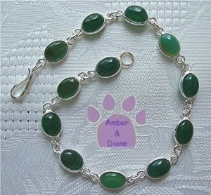 Green Onyx Sterling Silver Bracelet oval links 7.5 inches TR1402