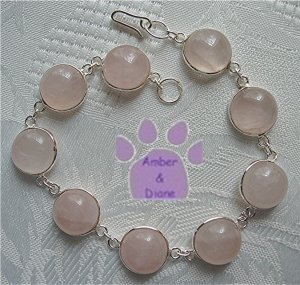 Rose Quartz Sterling Silver Bracelet round links 7.5 inches
