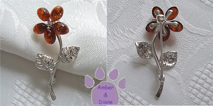 Baltic Amber Sterling Silver Pin Honey Flower Brooch