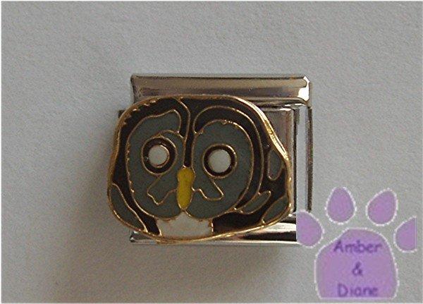 Owl Italian Charm Gray Owl's Face