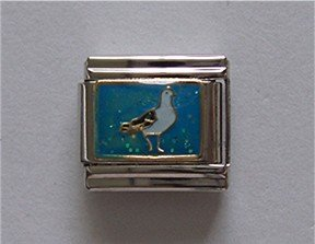 Sea Gull or Pigeon Italian Charm on a Blue Glitter background